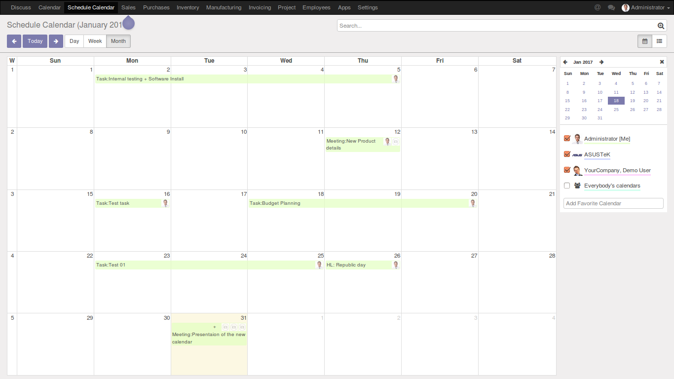Schedule Calendar – FOSS INFOTECH – Open Source