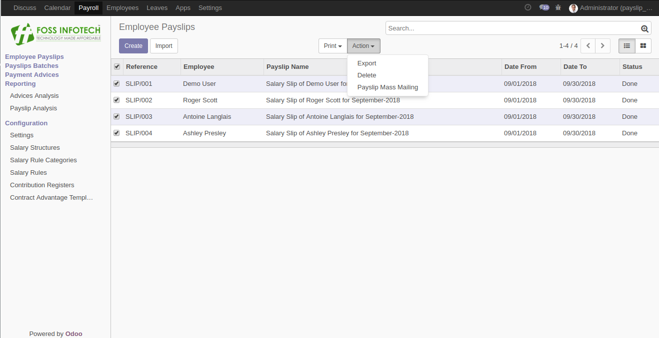 Payslip Mass Mailing – FOSS INFOTECH – Open Source